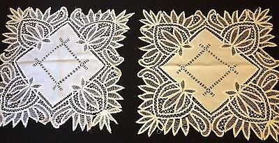 Two Antique Battenberg Lace Hand Made Tablecloths AS IS for Repair, Remake