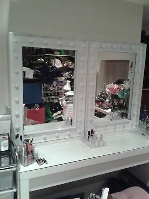 Posh high white gloss HOLLYWOOD MIRRORS for hair dressing beauty make up