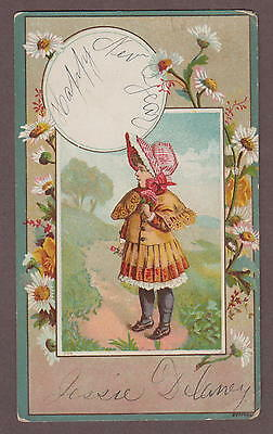 1880s Happy New Year Victorian Greeting Trade Card Girl With Flowers