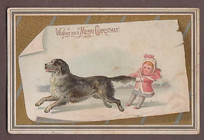 Victorian Christmas Card c1880 Wishing You A Merry Christmas Girl Pulls Dog Tail
