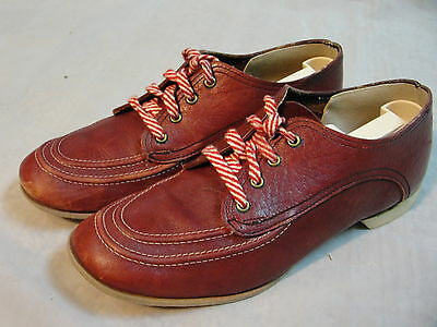 Vintage Red Wine Burgundy Leather Double Moc Toe Bowling Shoes womens sz 7