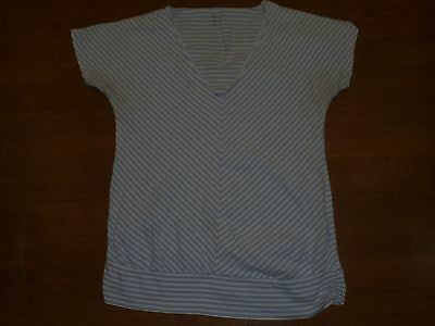 Gap Maternity blue & white chevron striped shirt size M