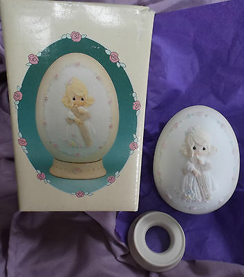 VINTAGE PRECIOUS MOMENTS EASTER EGG 1991 & BOX ~ ...cherish the old rugged cross