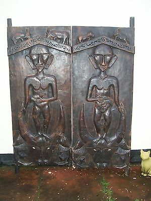 """Pair carved swing doors Papua New Guinea Nude """"Fertility"""" Ethnic Tribal"""