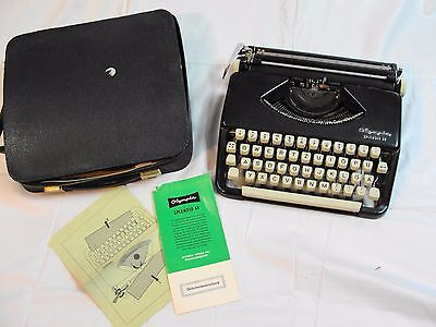 vintage Olympia Splendid 33  typewriter Germany portable 1960's Black rare color