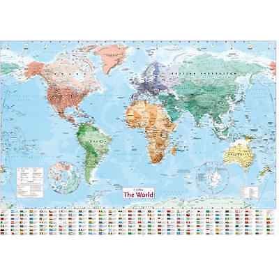 WORLD MAP POSTER 98x68cm With Country Flags Detailed Wall Chart NEW