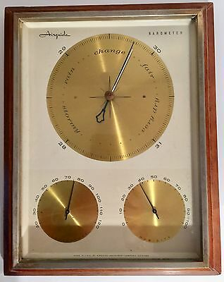 Airguide Weather Station Barometer Thermometer Humidity Wood Brass Instrument