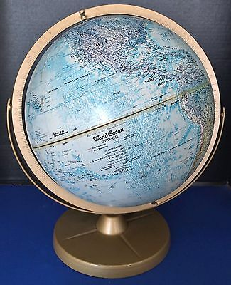 "Vintage Replogle 12"" World Ocean Series Globe 2 Axis Gold Tone Metal Stand Ussr"