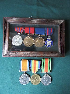 Coronation & Jubilee medals to Policeman father + BWM/Vic, Defence trio to son