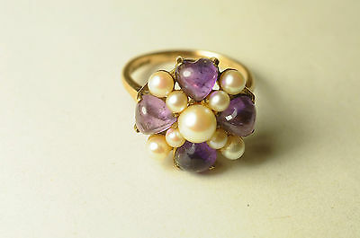 Fine Large Vintage 9ct Gold Amethyst Pearl Dress Ring London 1968 Hallmarked