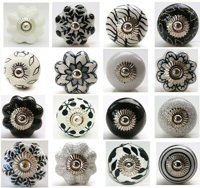 Mixed White & Black Hand Painted Ceramic Pumpkin Knobs Cabinet Drawer Pulls 5