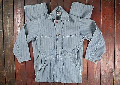 VTG 40s 50s RAIL CHIEF SANFORIZED HERRINGBONE DENIM COVERALLS WORKWEAR BOYS M/L