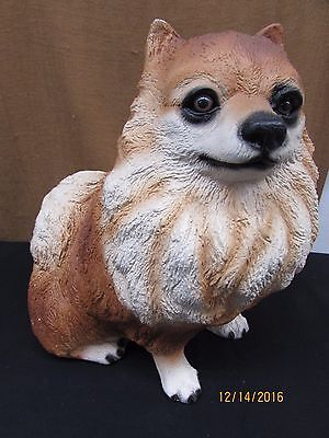 vintage POMERANIAN dog statue solid thick heavy hand painted