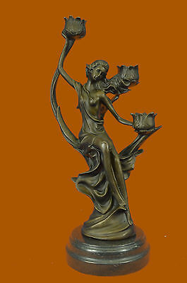 Art Nouveau Gorgeous Lady Candelabra Bronze Sculpture Classic Artwork Statue Ef