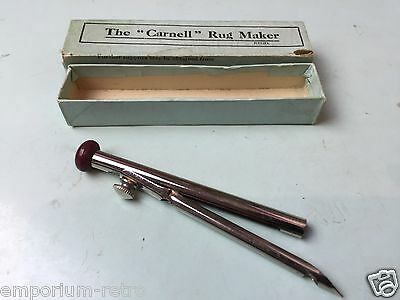 vintage nickelled the canell rug maker tool sewing england geo carnell boxed