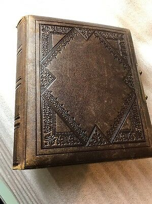 vintage leather bound photgraph album 54 x portrait pictures excellent condition