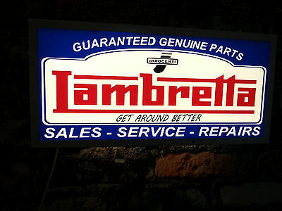 LAMBRETTA illuminated sign,sales,service,repairs,mancave,workshop,shed,house