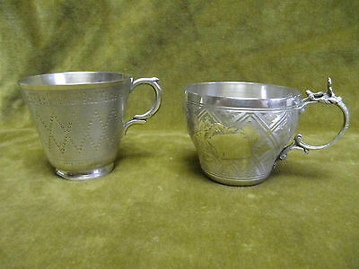 antique french sterling guilloche silver (950) 2 coffee cups 141gr