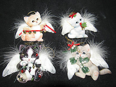 2001 Bradford Almost Purr-Fect Cat Kitten Angel Christmas Ornaments Morehead
