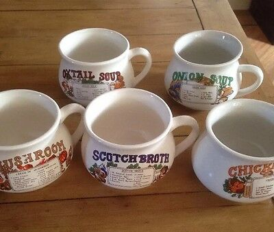 Vintage Soup Bowls Set Of 5 With Recipes - Retro Soup Mugs Chicken Tomato