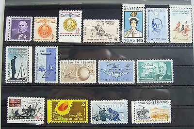 Collection of Unmounted Mint stamps from USA circa 1961