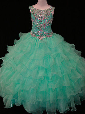 Gown Flower Girl Pageant Dress Princess Party Dance Wedding Birthday Ball Prom