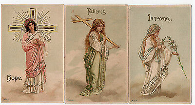 "3 x Religious Postcards by Mailick ""Hope"" ""Innocence"" ""Patience"""