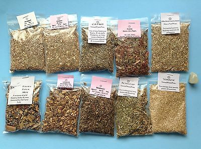 FAERY FOLK Mix Herb Lot PATCHOULI Scullcap Blessed Thistle Moonstone Wicca Pagan
