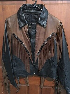 Women's Small Leather Coat With Fringe