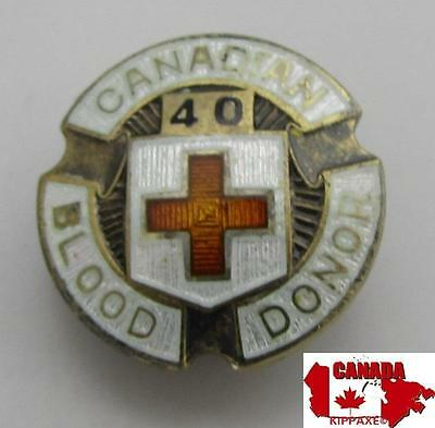 Vintage Canadian Red Cross Blood Donor Solid Sterling Silver Enamel Lapel Pin