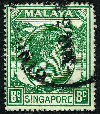 SG 21a SINGAPORE 1952 - 8c GREEN - USED