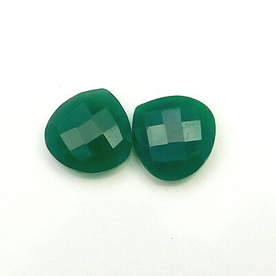 19.35 cts Natural Green Onyx Gemstone Heart shape Faceted Briolette 2 pc lot