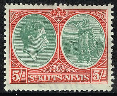 Sg 77 St. Kitts-Nevis 1938 - 5/- Grey-Green & Scarlet - Mounted Mint