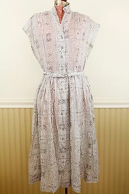Vintage 30s Sheer Cotton Deco Floral Print Day Dress, Small