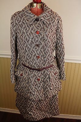 Vintage 60s Saks Fifth Avenue Gare NY Womens Medium Wool Tweed Skirt/Jacket Suit