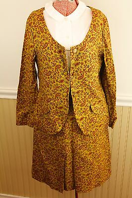 Vintage 50s Sue Brett Womens Small Cotton Paisley Jacket/Skirt 2 Piece Suit