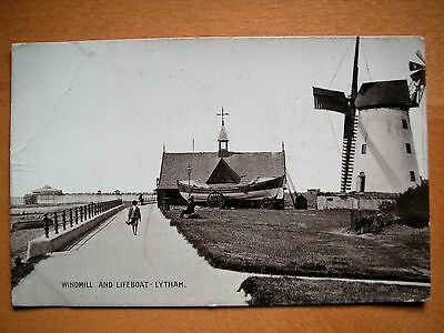 Vintage RP postcard of Windmill and Lifeboat, Lytham, Hants pre-1920