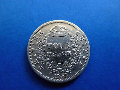 Guyana 4 Pence 1943 British Guiana Britain Silver Low Mintage 99 cents shipping