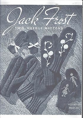 Vintage retro photo copy knitting pattern Jack Frost No 56 two needle mittens
