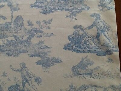 Laura Ashley  fabric Table Runner Toile de Jouy Bleu  (Blue) Fully Lined