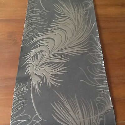 Laura Ashley Plume fabric Charcoal Table Runner. Fully Lined. New! BEAUTIFUL!