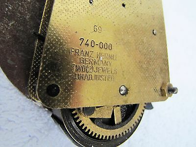 Vintage Working Franz Harmle Germany 2 Jewels 740-000 G9 Clock Movement Parts.