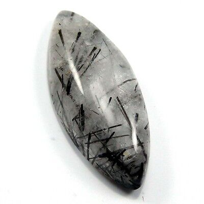 15.50 cts Natural Black Needle Rutilated Quartz Gemstone Marquise Loose Cabochon