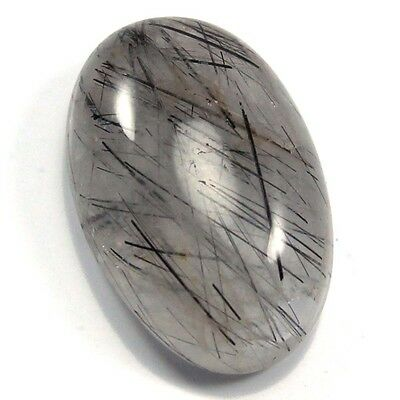 35.85 cts Natural Black Needle Rutilated Quartz Gemstone Oval Loose Cabochon