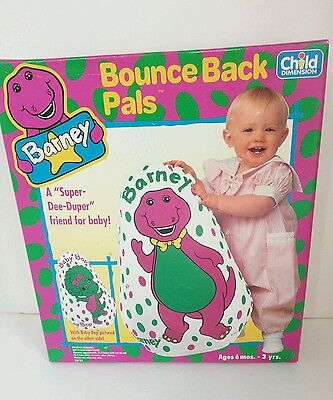 """1993 Barney/ Baby Bop Inflatable Vinyl 21"""" Bounce Back Pals Makes Jingling Sound"""
