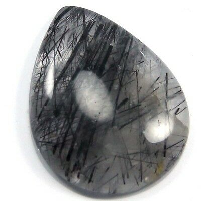 11.00 cts Natural Black Needle Rutilated Quartz Gemstone Pears Loose Cabochon