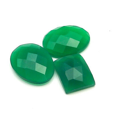 22.85 cts Natural Green Onyx Fancy Shape Single Side Faceted Gemstone 3 pc lot