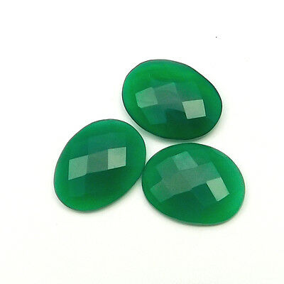 23.70 cts Natural Green Onyx Fancy Shape Single Side Faceted Gemstone 3 pc lot
