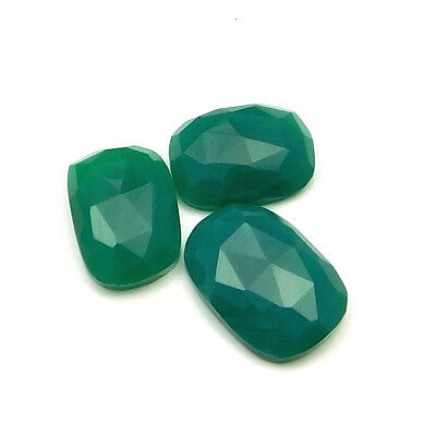 29.95 cts Natural Green Onyx Fancy Shape Single Side Faceted Gemstone 3 pc lot