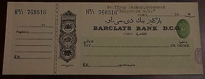 Barclays Bank (Dominion, Colonial and Overseas) Cairo branch unused cheque 19--